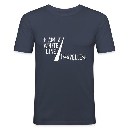 i am a white line traveller - Mannen slim fit T-shirt