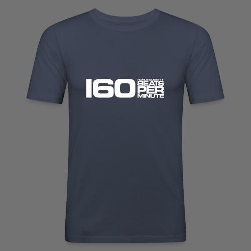 160 BPM (valkoinen pitkä) - Miesten tyköistuva t-paita