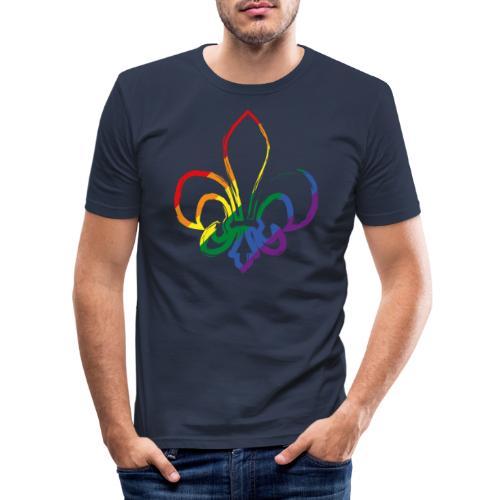 Pinselstrich Lilie Regebogenfahne - Männer Slim Fit T-Shirt