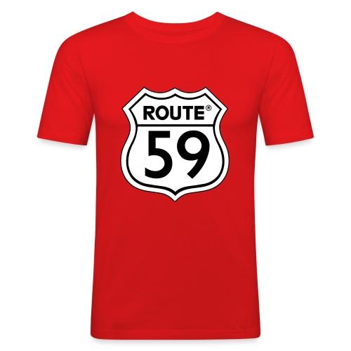 Route 59 zwart wit - Mannen slim fit T-shirt