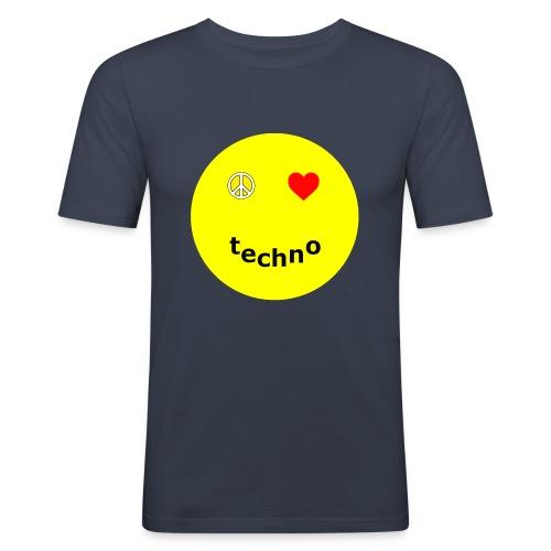 camiseta paz amor techno - Camiseta ajustada hombre