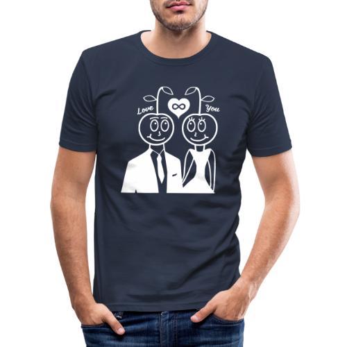 Happy Kirsche Weiß - Männer Slim Fit T-Shirt