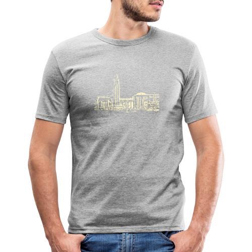 Helsinki railway station pattern trasparent beige - Men's Slim Fit T-Shirt