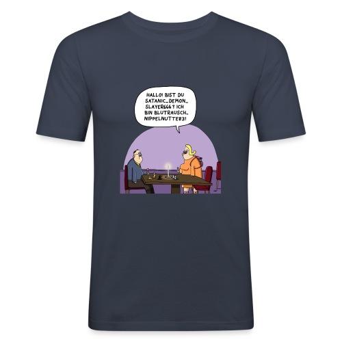 Nippelnutte vs. Demonslayer - Männer Slim Fit T-Shirt