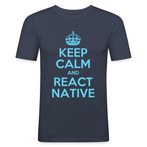 KEEP CALM AND REACT NATIVE SHIRT - Männer Slim Fit T-Shirt