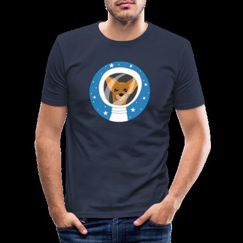 Fifi der Hunde Astronaut im Weltall - Männer Slim Fit T-Shirt