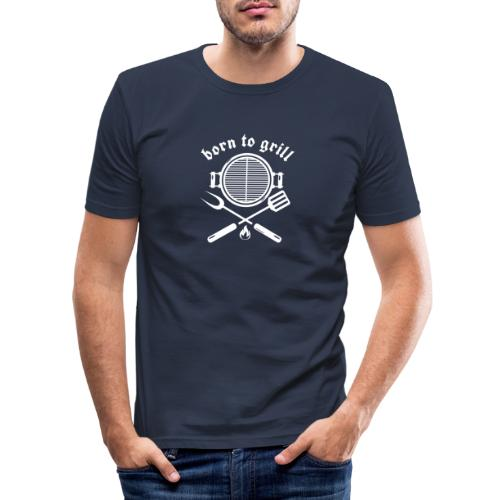 Born to grill (white on black) - Männer Slim Fit T-Shirt