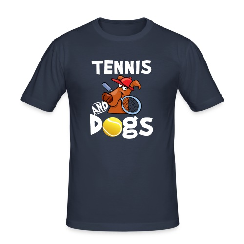 Tennis And Dogs Funny Sports Pets Animals Love - Männer Slim Fit T-Shirt