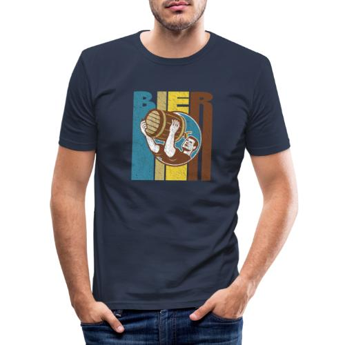 Bier Logo Retro - Männer Slim Fit T-Shirt