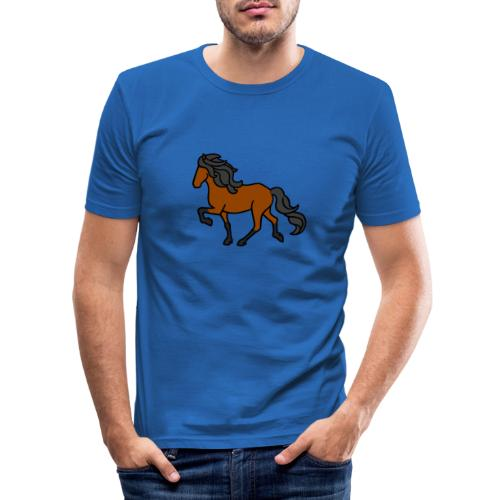 Islandpferd, Brauner, heller - Männer Slim Fit T-Shirt