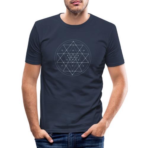 Harmaa geometrinen Shri Yantra -kuvio - Miesten tyköistuva t-paita
