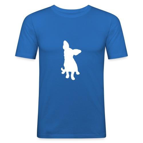 Chihuahua istuva valkoinen - Miesten tyköistuva t-paita