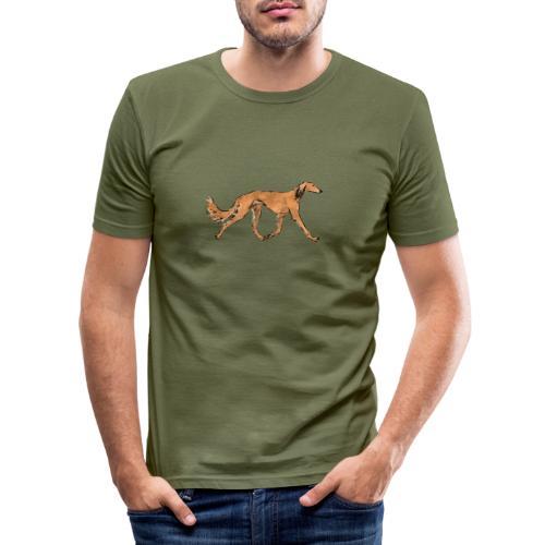 Roter Saluki - Männer Slim Fit T-Shirt