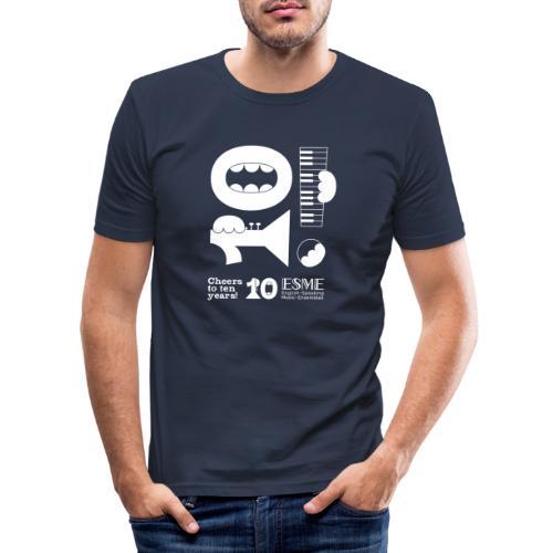 ESME Anniversary Simple Design Weiss - Männer Slim Fit T-Shirt