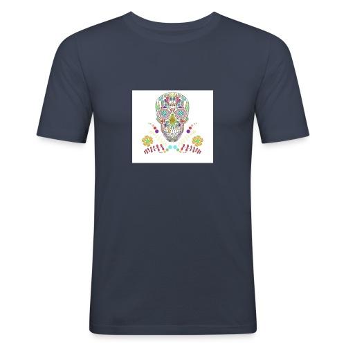 Bunter Totenkopf - Männer Slim Fit T-Shirt