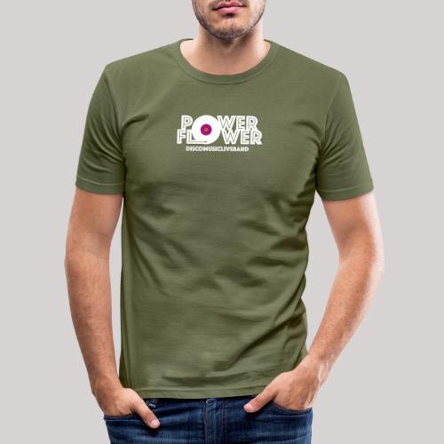 Logo PowerFlower bianco e fuxia - Maglietta aderente da uomo