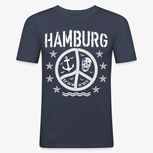 105 Hamburg Peace Anker Seil Koordinaten - Männer Slim Fit T-Shirt