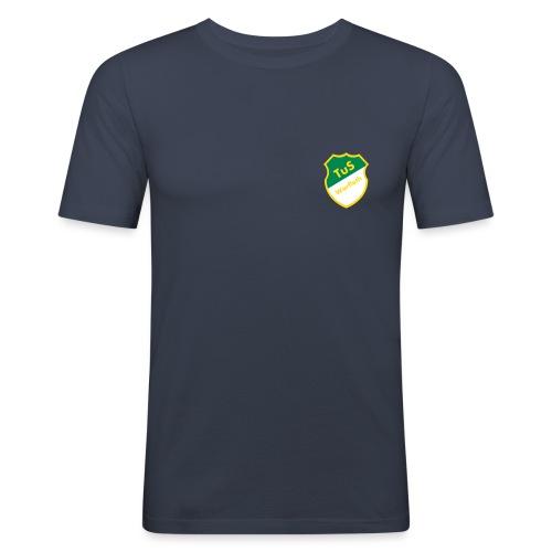 Schriftzug Rücken - Männer Slim Fit T-Shirt