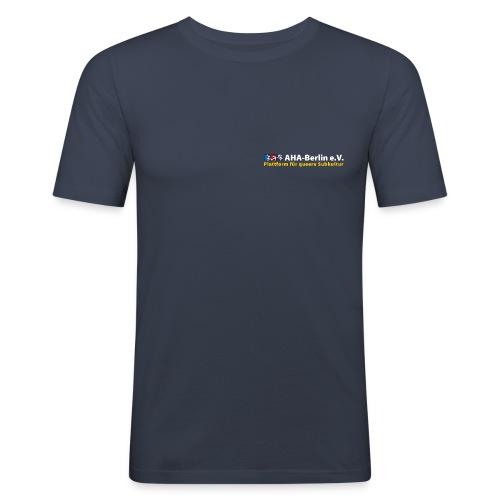 Logo flach für dunkle Shirts - Männer Slim Fit T-Shirt
