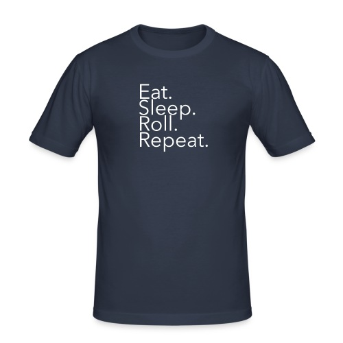 mi_EatSleepRollRepeat_whi - Men's Slim Fit T-Shirt