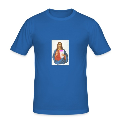 Jesus holding a cup of lean - Herre Slim Fit T-Shirt
