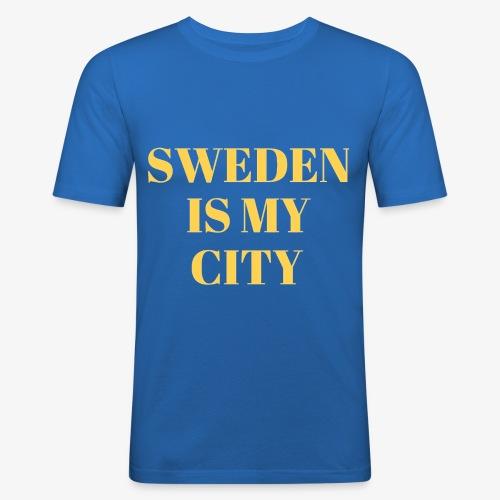 Sverige är min stad - Slim Fit T-shirt herr