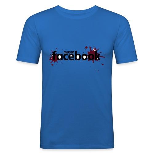 Musta Facebook -t-paita - Miesten tyköistuva t-paita