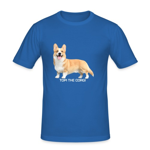Topi the Corgi - White text - Men's Slim Fit T-Shirt
