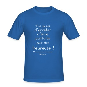 t-shirt_happy_white - Tee shirt près du corps Homme