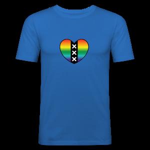 Hart Amsterdam in regenboog kleuren - slim fit T-shirt