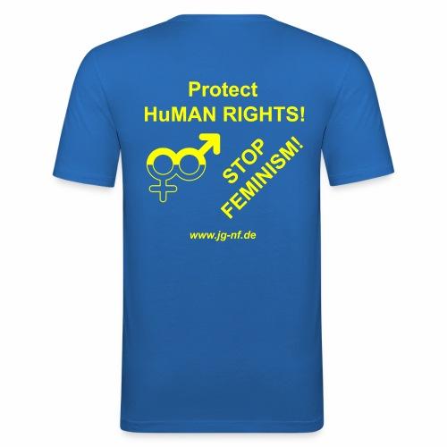 Protect Human Rights - Stop Feminism - Men's Slim Fit T-Shirt