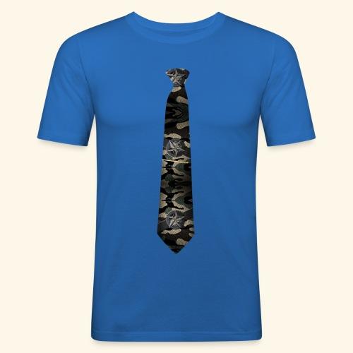 Krawatte 127 mit Goldnadel - Männer Slim Fit T-Shirt