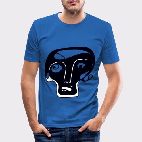 Totenkopf Blau Line Art Stil Geschenkideen - Männer Slim Fit T-Shirt
