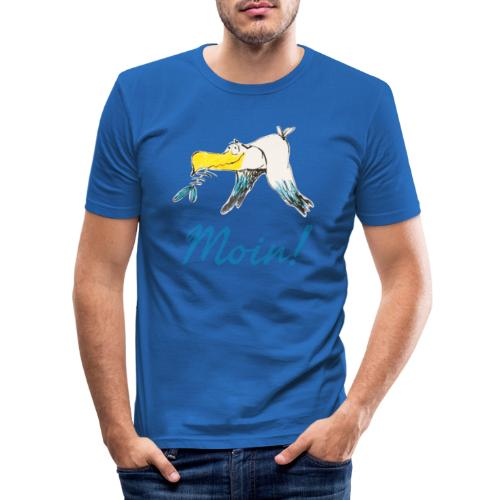 Lustige Moin Möwe von Volker Ernsting - Männer Slim Fit T-Shirt