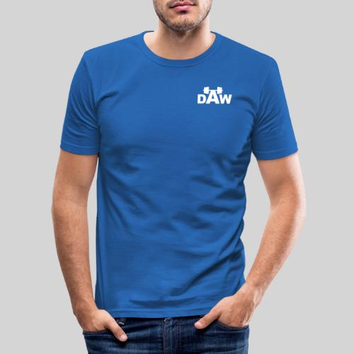 DAW white groot middle chest and back - Men's Slim Fit T-Shirt