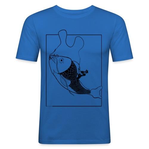 catching fish illustration black - Mannen slim fit T-shirt