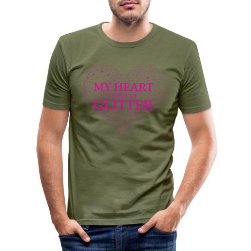 Herz Glitzer - Männer Slim Fit T-Shirt