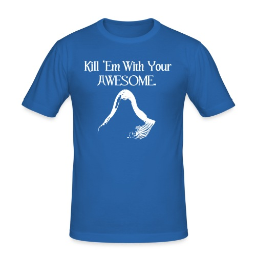 kill em wit your awesome text and hood - Men's Slim Fit T-Shirt