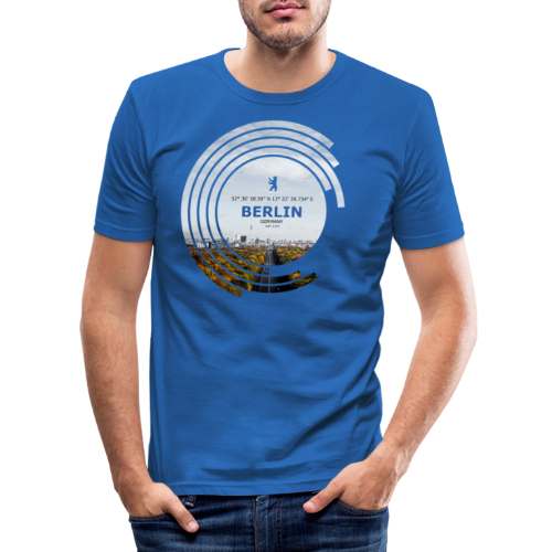 Berlin City Skyline Geometrische Form Kreis - Männer Slim Fit T-Shirt