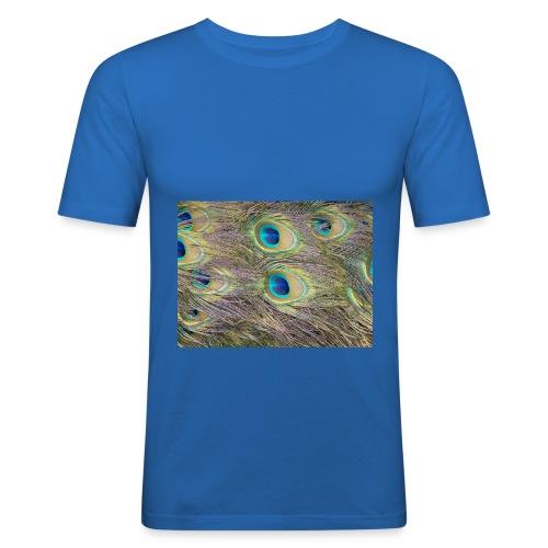 Peacock feathers - Miesten tyköistuva t-paita