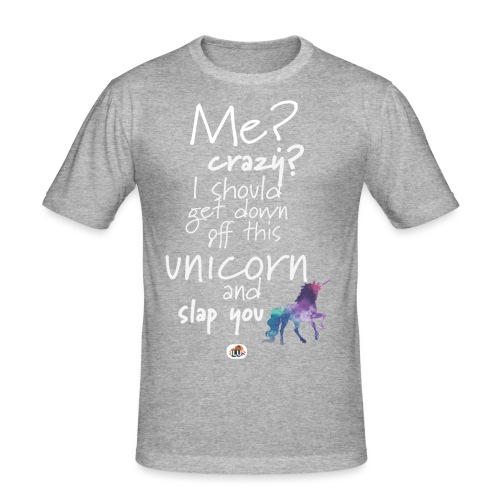 Crazy Unicorn - Light with picture - Men's Slim Fit T-Shirt