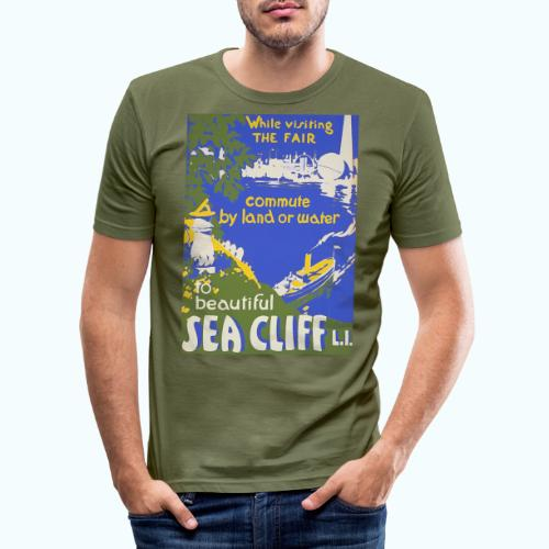 Lake travel vintage poster - Men's Slim Fit T-Shirt