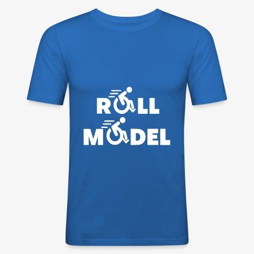 Elke rolstoel gebruiker is een roll model - Mannen slim fit T-shirt