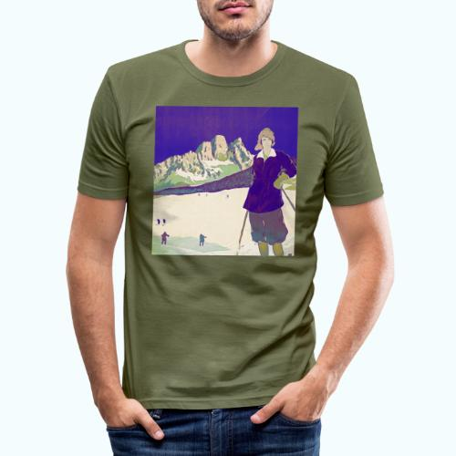 Ski trip vintage poster - Men's Slim Fit T-Shirt
