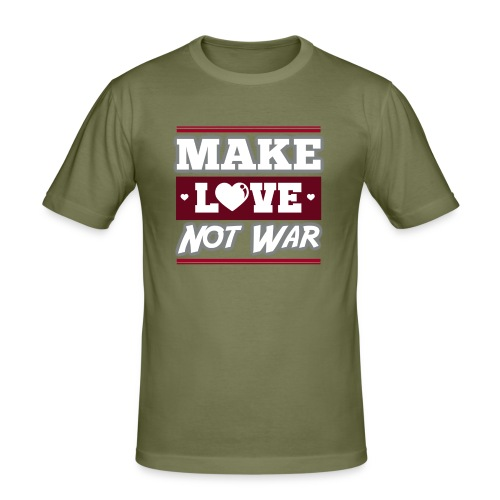 Make_love_not_war by Lattapon - Herre Slim Fit T-Shirt