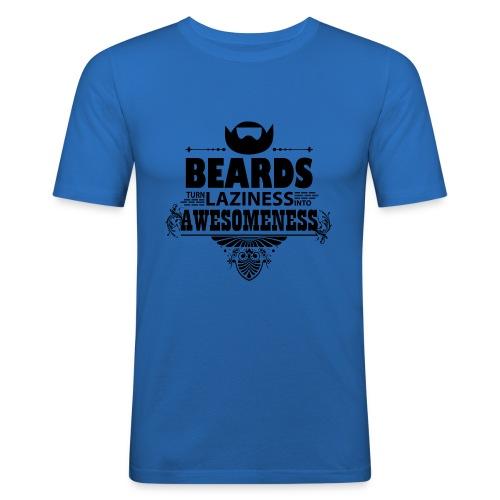 beards_laziness_awesomeness 10x - Miesten tyköistuva t-paita