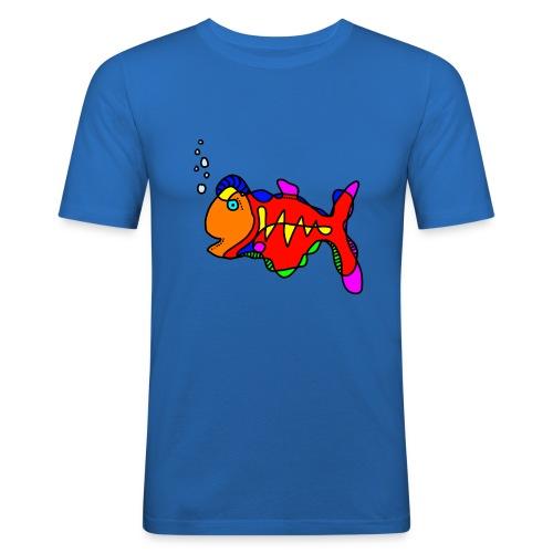 Tusche Fisch --- one line - Männer Slim Fit T-Shirt