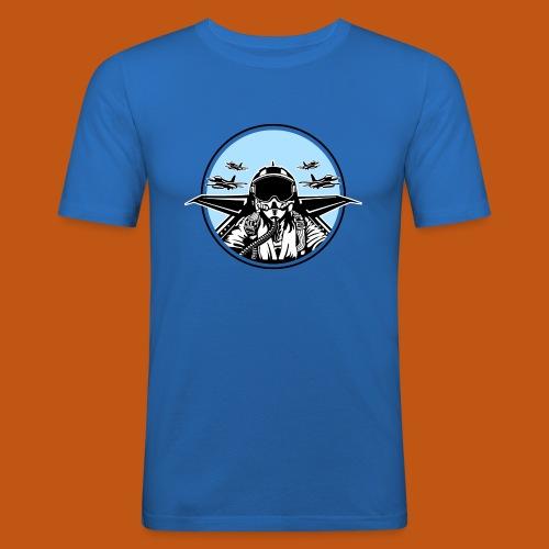 Jet Pilot / Kampfpilot 01_weiß Schwarz - Männer Slim Fit T-Shirt