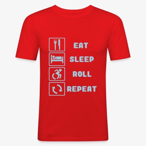>Eten, slapen, rollen met rolstoel en herhalen 001 - Mannen slim fit T-shirt