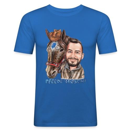 Pferde-Hoschi Kollektion hinten - Männer Slim Fit T-Shirt